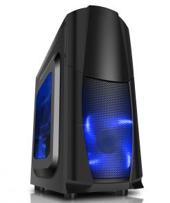 CiT Dragon³ Midi Black Case With 12cm Blue LED Fans & Side Window