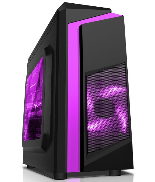 CiT F3 Black Micro-ATX Case With 12cm Purple LED Fan & Purple Stripe
