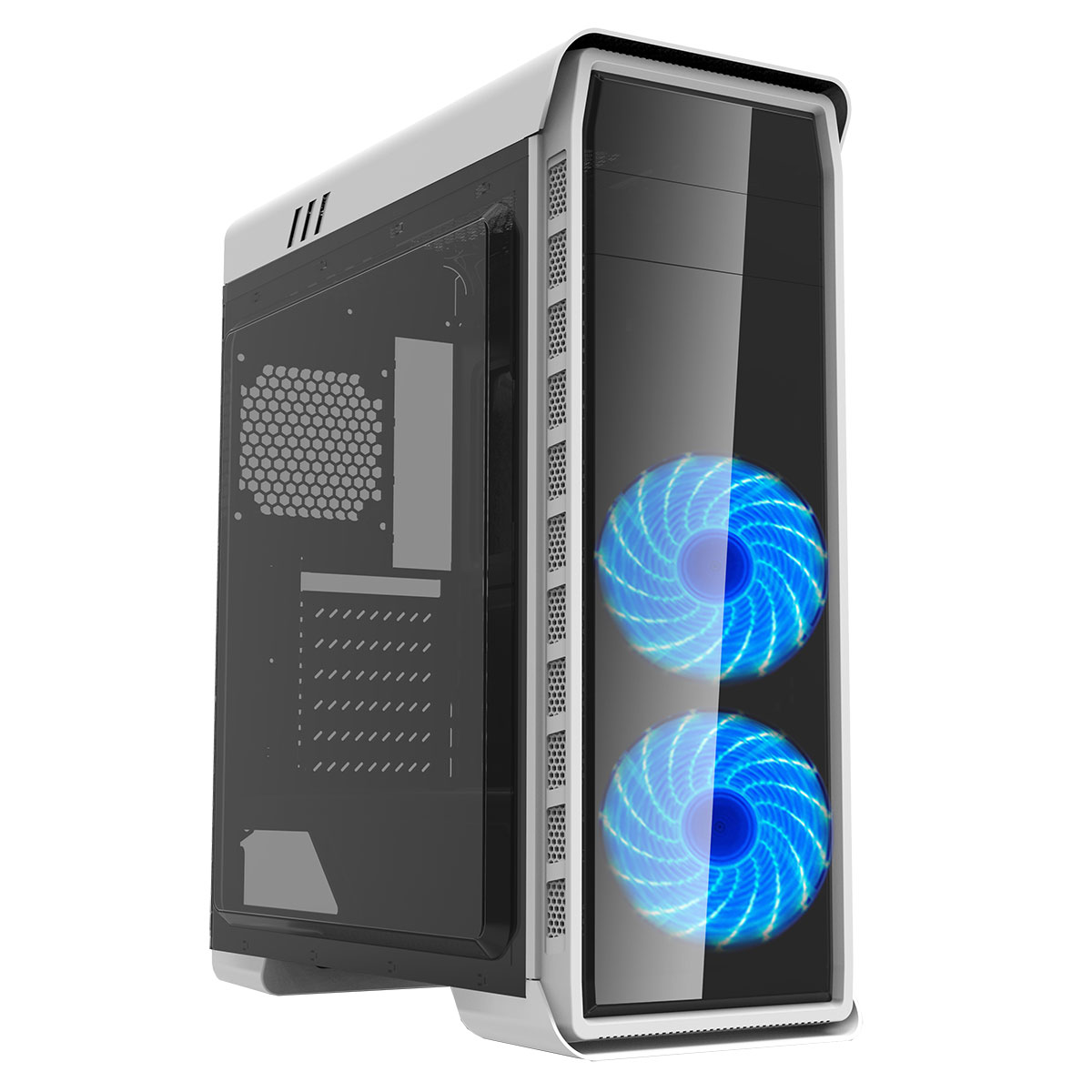 Game max white elysium gaming pc case with blue led fans for Case pc colorati