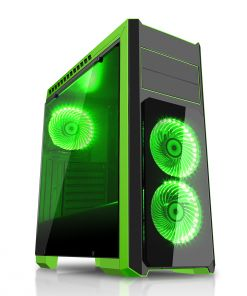 CiT Flash Mid Tower PC Case Black/Green LED Fans Tempered Glass
