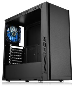 CiT Dark Star Black Midi Case 1 x 12cm Blue 4 LED Rear Fan With Side Window Panel