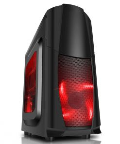 CiT Dragon³ Midi Black PC Case With 12cm Red LED Fans & Side Window