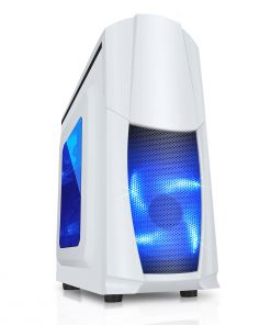 CiT Dragon³ Midi White Case With 12cm Blue LED Fans & Side Window