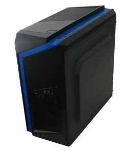 CiT F3 Black Micro-ATX Case With 12cm Blue LED Fan & Blue Stripe