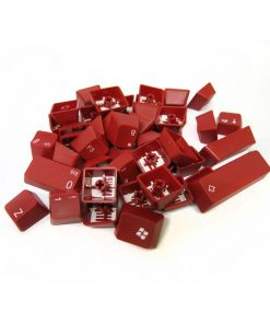 AvP ABS Double Shot UK Layout Keycaps Red White Legends