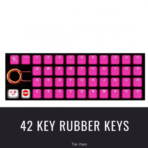 Tai-Hao Rubber Gaming Backlit Keycaps-42 keys Neon Pink
