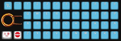 Tai-Hao Rubber Gaming Backlit Keycaps-42 keys Neon Blue